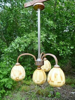 Vintage French Art Deco Bronze Coated, Four Light Chandelier. Art Deco Lighting