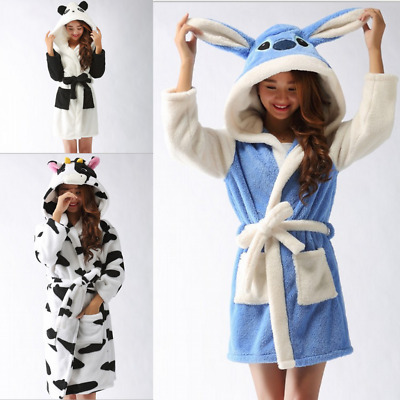 Women Bathrobe Soft Dressing Gown Fleece Nightwear Pajamas Hoodie Lady Sleepwear