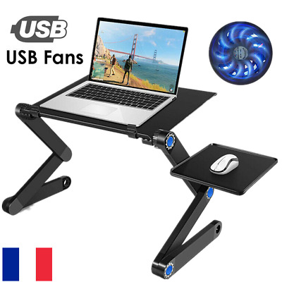 Table de Lit Ordinateur Portable Pliable multi-fonction Bureau Tablette USB Fan