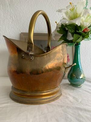 Great Collectable Vintage Brass / Copper Fireplace Basket Coal Scuttle