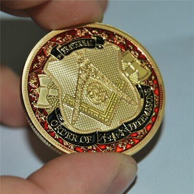 TOP QUALITY Masonic Fraternity Freemason Gold Plated Coin Medal