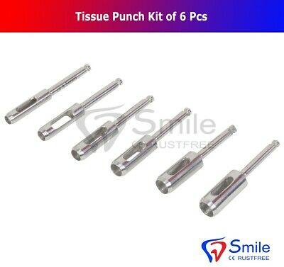 Dental Implant Tissue Punch Kit 6pcs Set Surgical Surgery Stainless Steel New