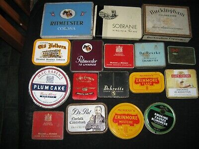 17 Old Different Tobacco Tins Large Medium Small Dr.pat=Debretts=Buckingham= Etc