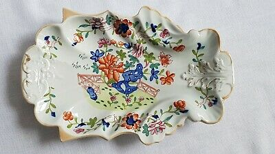 Antique 1813-20 Masons Patent Ironstone China Leaf Dish Plate Fence Rock Flower