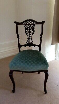Period dining/hall chair Dark wood, reupholstered. Small repair to backrest