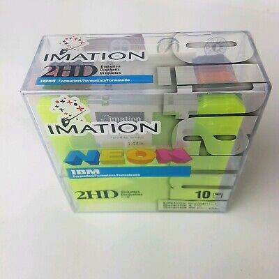 "Imation Neon IBM Formatted 2HD 3.5"" Floppy Diskettes 1.44MB PC Pack of 10 NEW"