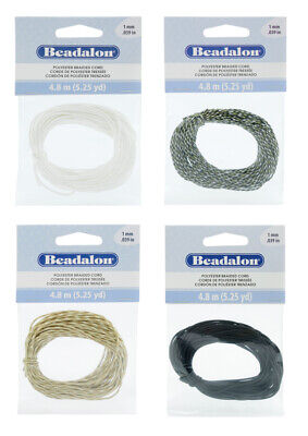 Beadalon® Polyester Braided Cord .039in/1mm Diameter 4.8m Length * Choose Color