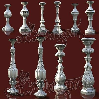 5 3D STL Models Column Balusters for CNC Router Carving Machine Artcam aspire