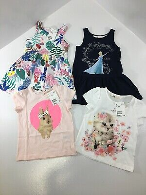 H&M Girls Toddler Mixed Lot Of Tees & Dresses Multi Colored 1&1/2-2 Y NWT @