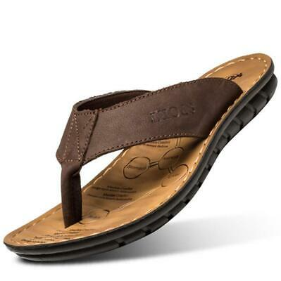 Mens Leather Toe Post Flip Flops Walking Beach Summer Mules Sandals Shoes New