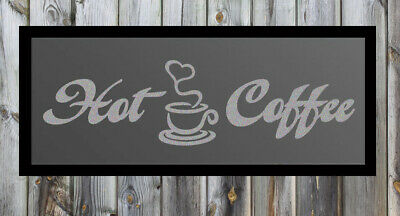 Hot Coffee Quote Silver Frosted Etched Glass Vinyl Wall Sticker Decal