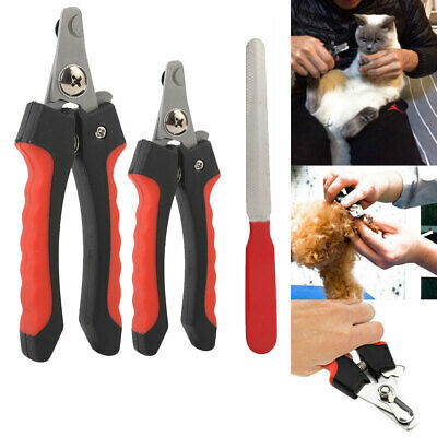 Pet Nail Dog Cat Claw Clippers Trimmer Scissors Grooming Cutters File S/L