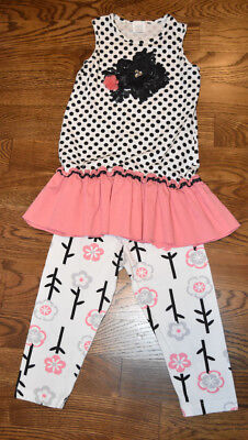 CORAL /& WHITE SIDE RUFFLE TUNIC W// LEGGINGS BOUTIQUE MALLORY MAY SZ 7 8 10