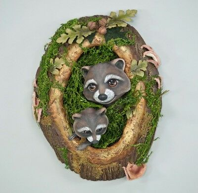 """Katherine's Collection raccoon door or wall hanging Into the woods Woodland 22"""""""