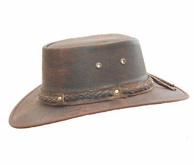 New Kids Real Distressed Leather Foldaway Australian Style Bush Hat Brown