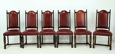 6 Oak Dining Chairs Ox Blood Red Studded Leather  FREE Nationwide Delivery