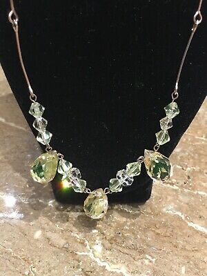 LOVELY ART DECO LARGE GLASS DROP Rolled Gold WIRE NECKLACE VINTAGE 1930s