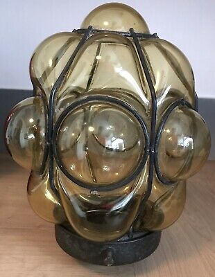 Antique Art Deco Glass And Metal Porch Light Yellow Glass