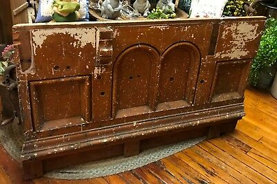 Vintage Wood Church Altar Pew Railing Wall Architectural Salvage Religious