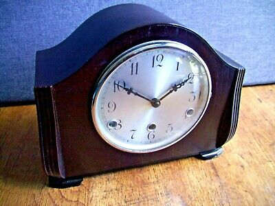 Antique 1930's Art Deco Perivale Oak Mantel Clock with Westminster Chime and Key