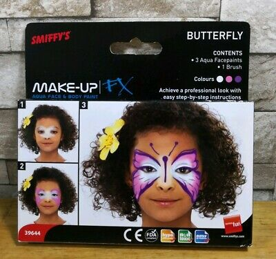 Smiffys Butterfly Face Paints Make Up Fx Brand New In Packet
