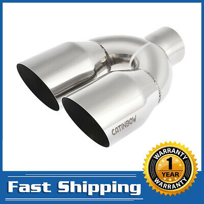 """2.5"""" Inlet - 3.5"""" Outlet - 10"""" Long Stainless Steel Dual Exhaust Tip Angle Cut"""
