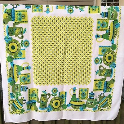 Vintage Terry Cloth Fruit Floral Tablecloth Turquoise Green Kitchen Kitsch