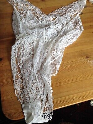 Vintage Teddy  Camisole Playsuit All Lace Sheer White High Leg 36 Bnwo