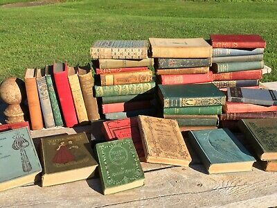 Lot of 8 ANTIQUE Old VTG BOOKS Collection Set Unsorted HARDCOVER Prop Display