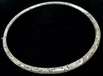 Antique Chinese Export Silver Choker Necklace Fine Engraved Shark Dragon Details