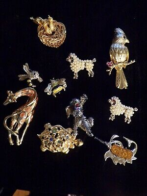 Vintage 10PC Jewelry Lot of Animal Bees  Brooches/Pins Gerry Jeanne Avon