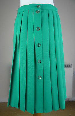 St Michael Green A Line Pleated Button Down Skirt Vintage Size UK 16, waist 30''