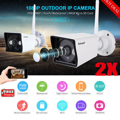 2X Sricam ​Wireless WLAN 1080P HD IP Camera Network Outdoor CCTV Security WEBCAM