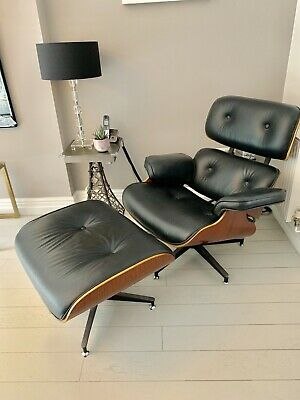 lounge chair and ottoman. Black Leather