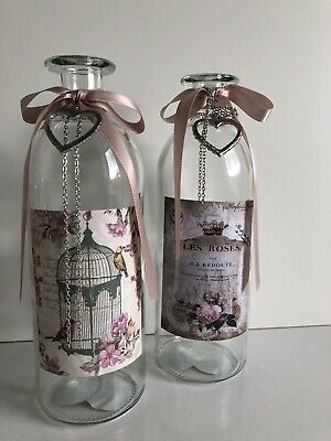 * NEW VINTAGE X 2 FRENCH SHABBY CHIC STYLE BOTTLES VASES silver hearts