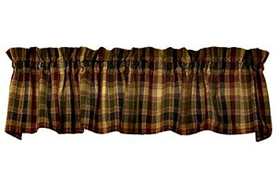 New Primitive Rustic Cabin Wine Navy Green Plaid Check Homespun Curtain Valance