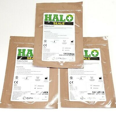 3-PMI HALO Seals Chest Seal exp 06/2020 2/Package NSN New Occlusive Dressing