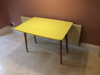 Mid Century Modern Table Dining Kitchen Yellow Danish Formica