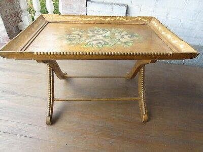 Vintage Hollywood Regency hand painted Gilt Table - Neat!