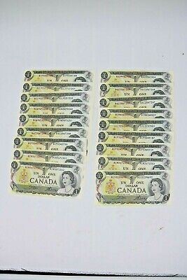 Bank of Canada Lot of 18, 1973 $1.00, One Dollar Notes Various Prefix XF/AU-Unc