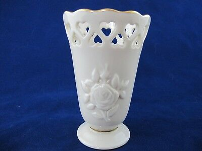 Lenox Sm BUD VASE Embossed Rose & Cut Out Hearts Gold Hallmark Ivory w Gold Trim