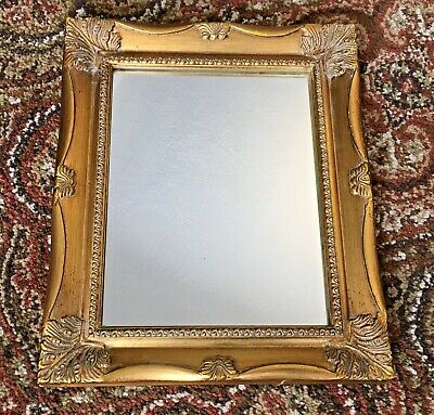 NICE ~ Ornate Gold Gilt Wood Picture Art Framed Glass Mirror 13x11