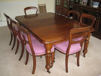 Victorian Mahogany dining table with 8 balloon-back chairs (can sell separately)