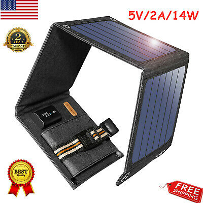 14W 5V Folding Solar Panel Charger Portable Battery Power Bank USB For Phone US