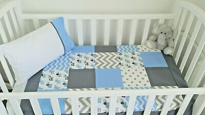 New Baby boy blue, Grey + Charcoal  Elephant Cot Quilt + toddler pillowcase set