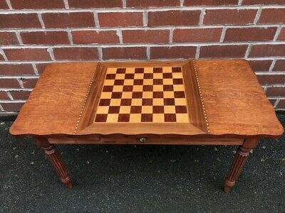 Vintage Wooden Chess Table Draughts Rosewood Inlay Satinwood Games Coffee