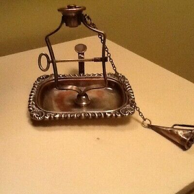 Antique silverplate string wax jack candle w snuffer letter seal England