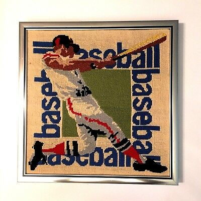 Vintage 79 Completed Action Baseball Cross Stitch Needlepoint Crewell Picture Em
