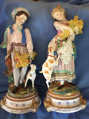 Antique French Vion Baury Pair Bisque Figurines Large.
