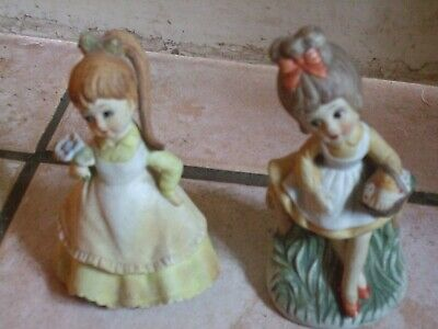 """Pair of charming vintage young girl figurines 5"""" tall"""
